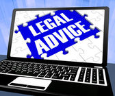 Legal Advice On Laptop Showing Legal Assistance — Foto Stock
