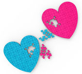Two Hearts Puzzle Shows Romance And Commitment — Stock Photo