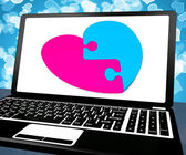 Puzzle Heart On Laptop Showing Online Dating — Stock Photo