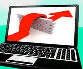 Arrow Jumping Wall On Laptop Shows Overcoming Obstacles — Stock Photo