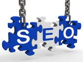 Seo betekent search engine optimization en promotie — Stockfoto