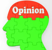 Opinion Mind Shows Feedback Surveying And Popularity — 图库照片
