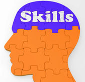 Skills Brain Shows Abilities Competence And Training — Stock Photo