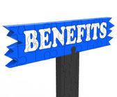Benefits Shows Bonus Perks Or Rewards — Stock Photo