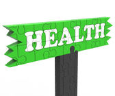 Health Sign Shows Healthcare Wellbeing Condition — Stock Photo