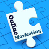Online Marketing Shows Internet Strategies And Development — Stock Photo