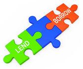 Půjčovat si půjčit ukazuje poskytnutí nebo přijetí půjčky — Stock fotografie