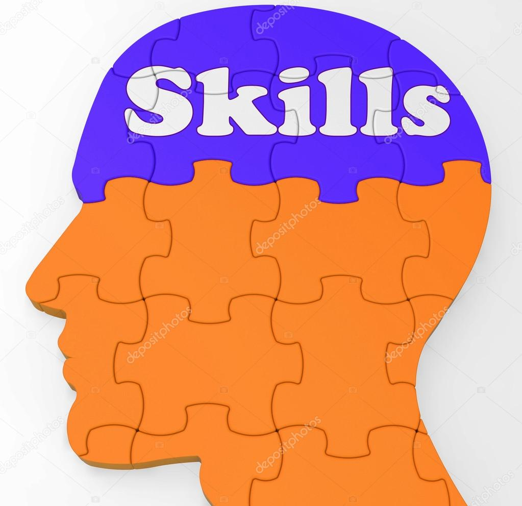 skills brain shows abilities competence and training stock photo skills brain shows abilities competence and training stock photo 16638543