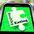 Healthy Eating On Smartphone Shows Dieting And Health Care - Stock Photo