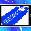 图库照片: Outsource On Smartphone Showing Freelance Workers