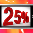 Twenty Five Percent On Smartphone Shows Price Reductions And Bargains — Stock Photo