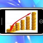 Money Increasing On Smartphone Showing Big Earnings — Stock Photo #17596261