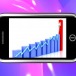 Arrow Rising On Smartphone Shows Progress Chart — Stock Photo