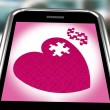 Puzzle Heart On Smartphone Showing Commitment — Stock Photo #17596277
