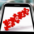 Stock Photo: 2017 On Smartphone Showing Forecasting
