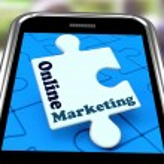 Online Marketing On Smartphone Shows Emarketing — Stock Photo