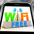 Wifi Free On Smartphone Showing WiFi Broadcasting Area — Стоковая фотография