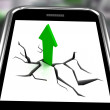Arrow Going Up On Smartphone Showing Increased Sales — Stock Photo #17596363