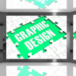 Graphic Design On Screen Showing Graphic Designer — 图库照片