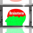 Brainstorm On Brain On Screen Showing Group Of Words — 图库照片