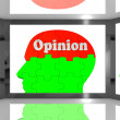 Stock Photo: Opinion On Brain On Screen Showing Personal Opinion