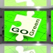 Go Green On Screen Showing Protecting The Planet — Stock Photo