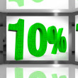 Ten Percent On Screen Showing Sellouts And Bonuses — Stock Photo
