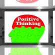 ストック写真: Positive Thinking On Screen Shows Interactive TV Shows