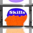 Stock Photo: Skills On Brain On Screen Showing HumCompetences