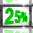 Twenty Five Percent On Screen Showing Monitors Bargain Or Special Offers — Stock Photo