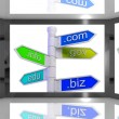 Domains On Screen Showing Internet Domains — Stock Photo