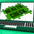 Health Check On Laptop Showing Medical Exams — Stock Photo