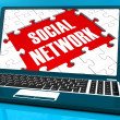 Stock Photo: Social Network On Laptop Showing Online Communications