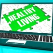 Healthy Living On Laptop Shows Wellbeing — Stock Photo