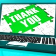Foto Stock: Thank You On Laptop Shows Appreciation
