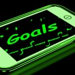 Stock Photo: Goals On Smartphone Shows Targets And Objectives