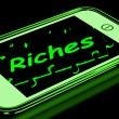 Riches On Smartphone Showing Wealth — Stockfoto