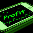 Stock Photo: Profit On Smartphone Shows Lucrative Earnings
