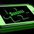 Success On Smartphone Shows Progression — Stok Fotoğraf #17596947