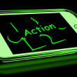Stock Photo: Action On Smartphone Shows Proactive Motivation