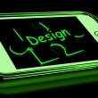 Design On Smartphone Shows Mobile Designing — Stock Photo