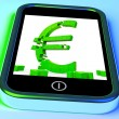 Euro Symbol On Smartphone Showing European Financial Investment — Stock Photo #17597117