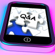 Q&A On Smartphone Showing Asking Inquiries — Stock Photo