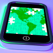 Stock Photo: Map Of AmericOn Smartphone Shows Mobile Global Communications