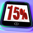 Stock Photo: Fifteen Percent On Smartphone Showing Savings, Price Reduction And Discounts