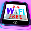 Wifi Free On Smartphone Showing Wireless Free Internet — Stock Photo #17597199