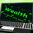 Wealth On Laptop Shows Abundance — Foto de Stock