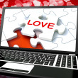 Stock Photo: Love Puzzle On Laptop Shows Internet Dating