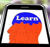 Learn On Brain On Smartphone Showing Human Training — Stock Photo