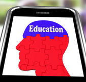 Education On Brain On Smartphone Showing Human Wisdom — Stock Photo